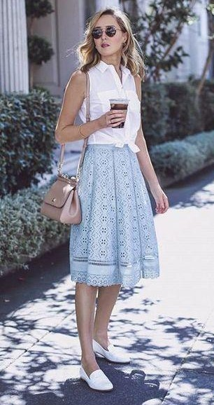 Where can I find a similar powder blue midi lace skirt, white sleeveless shirt, loafers and black round sunglasses? - SeenIt