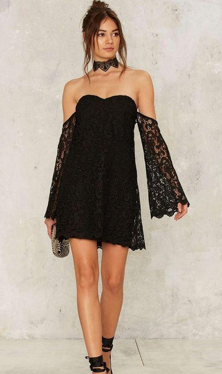 I am looking for this off shoulder bell sleeved black dress,help me? - SeenIt