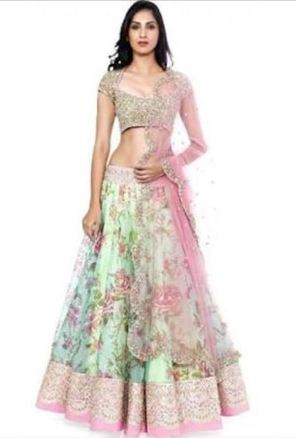 Looking for a similar pink and green  lehenga. - SeenIt