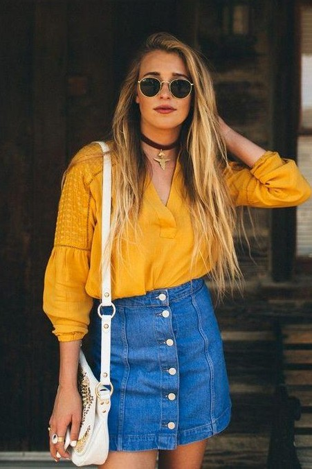 I am looking for similar yellow shirt, sunglasses and denim skirt as seen on her. - SeenIt