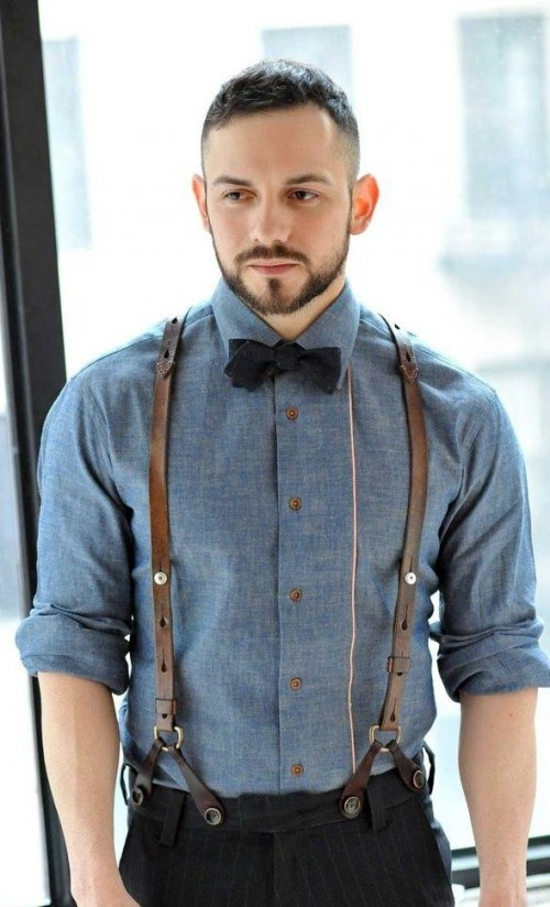 i am looking for a similar bow,blue shirt and brown suspenders as seen on him - SeenIt