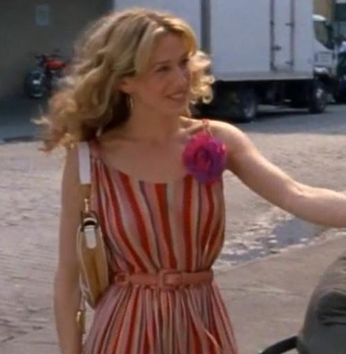 I'm looking for a similar dress like the one which Sarah Jessica Parker is wearing with colour scheme and neck. spaghetti straps - SeenIt