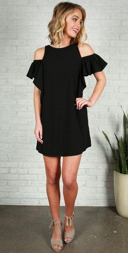 Want this black cold shoulder ruffled dress.. - SeenIt