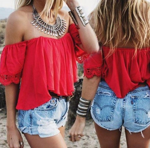 Looking for a similar red off shoulder top, blue denim shorts and silver junk neckpiece with handcuff - SeenIt
