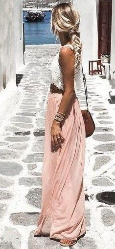 Looking for a similar white crop top with blush pink maxi skirt - SeenIt