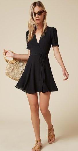 Want a similar black wrap mini dress. - SeenIt