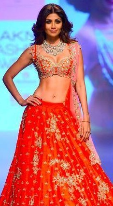Looking for a similar red bridal lehenga as seen on Shilpa Shetty - SeenIt
