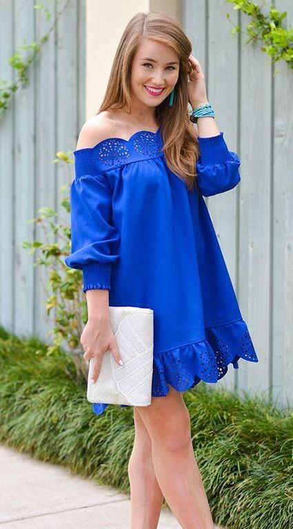 Looking for a similar blue off shoulder dress. - SeenIt