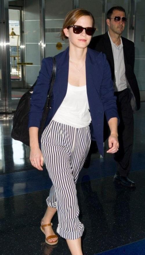 Help me find similar stripes pants, a basic white tee, blue blazer and black sunglasses as seen on Emma Watson - SeenIt