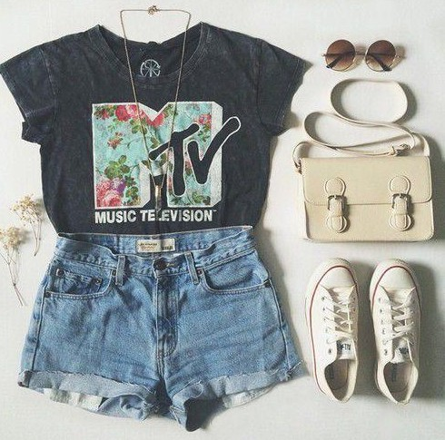 Looking for a similar grey top with MTV print on it, white converse, denim shorts - SeenIt