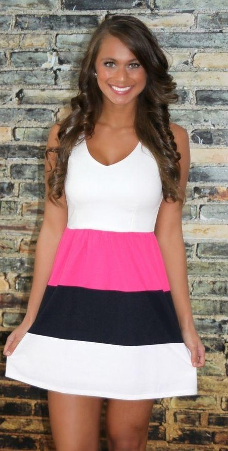 i am looking for this colour block skater dress as seen on her,help me? - SeenIt