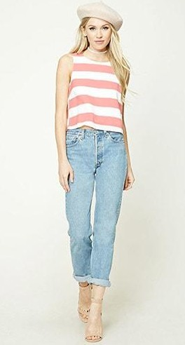Can you help me find this pink and white bold striped top and blue boyfriend fit jeans? - SeenIt