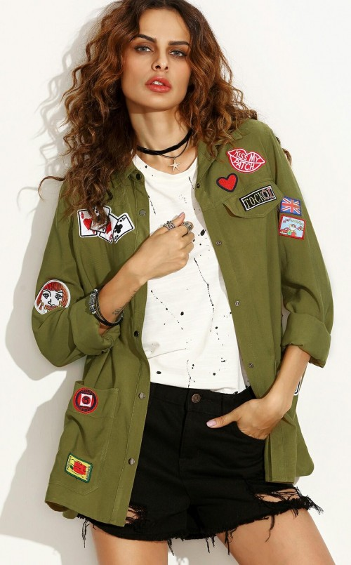 looking for an olive green long shirt with patches - SeenIt
