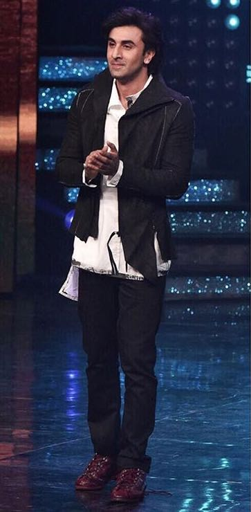 Looking for a similar pair of black jeans and jacket that Ranbir Kapoor is wearing while promoting Jagga Jasoos - SeenIt