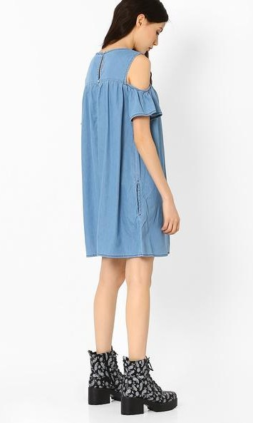 Want the blue cold shoulder dress and black boots - SeenIt