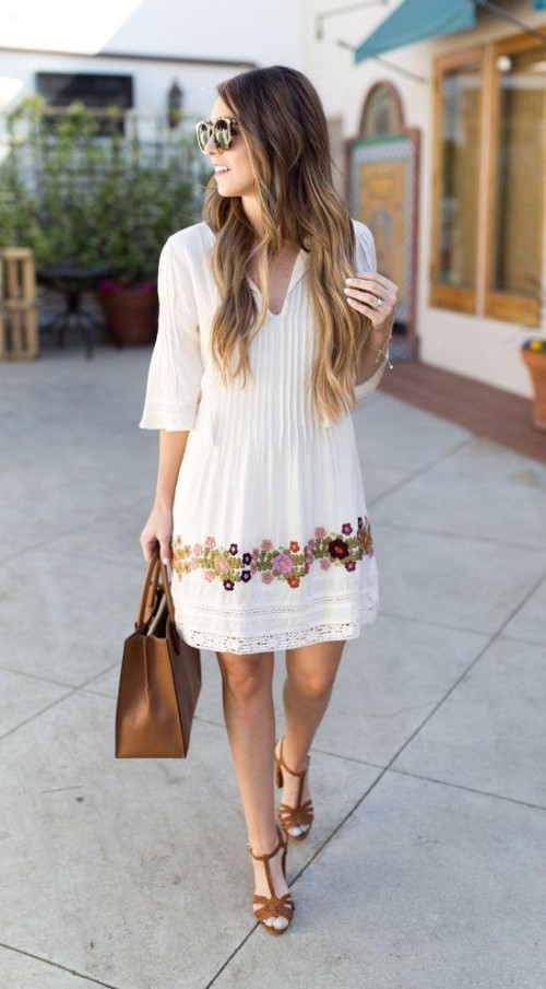 I am looking for a similar white dress, quarter sleeves, knee length. - SeenIt