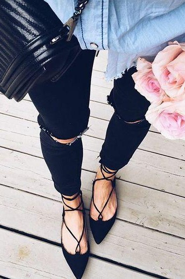 Looking for this black lace up flats. - SeenIt