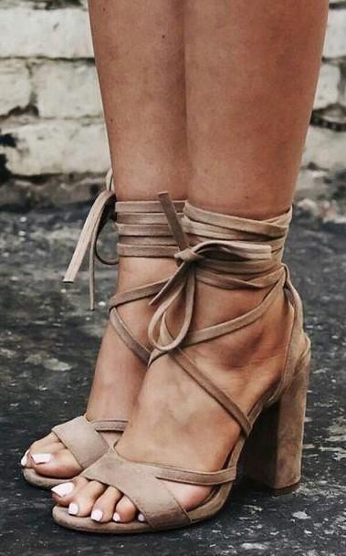 Help me find these beige lace up block heels. - SeenIt