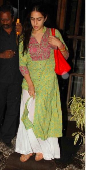 Looking for a similar traditional wear, the green kurta and the white palazzo that Sara Ali Khan is wearing. - SeenIt