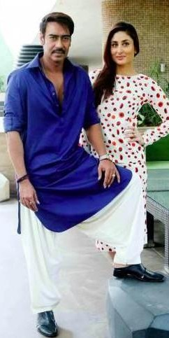 Looking for a similar blue kurta and white pyjama that Ajay Devgn is wearing. - SeenIt