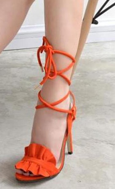 Where can I find these orange lace up stiletto heels? - SeenIt