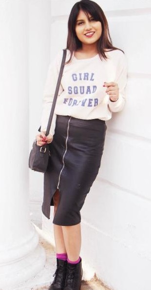 Looking for a similar top with ' Girl Squad Forever' printed, chained black skirt and black shoes that Cherry Jain is wearing. - SeenIt