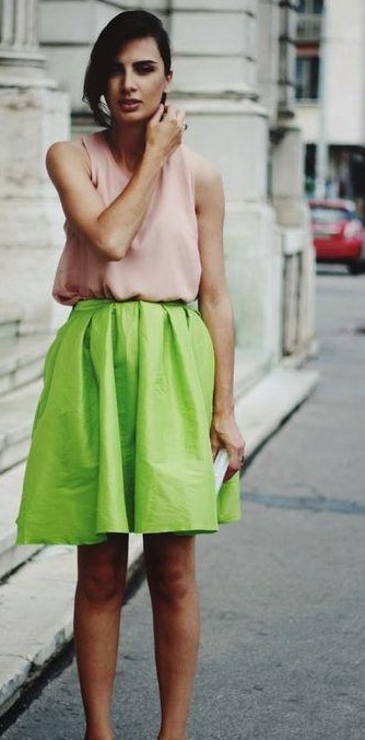 Help me find a similar green flared skirt and pink top. - SeenIt
