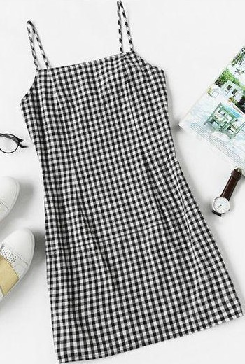 Help me find this black and white gingham print cami dress. - SeenIt