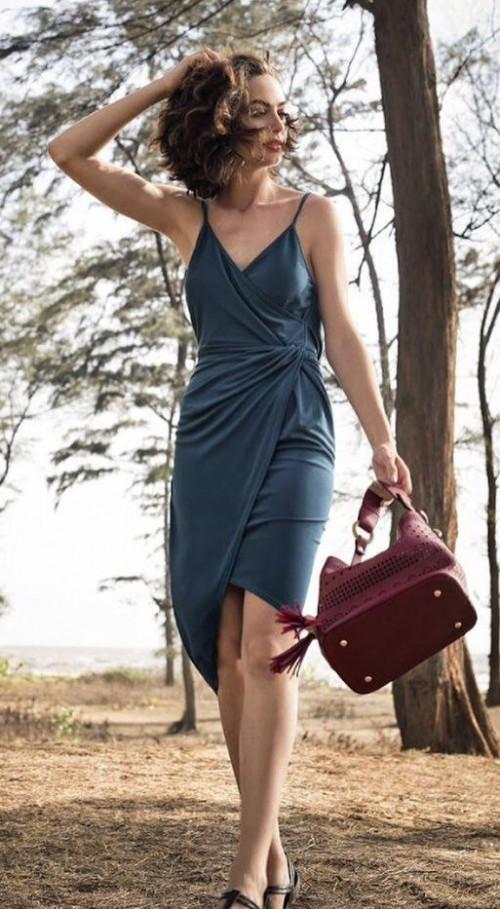 Help me find a similar teal wrap cami dress.. - SeenIt
