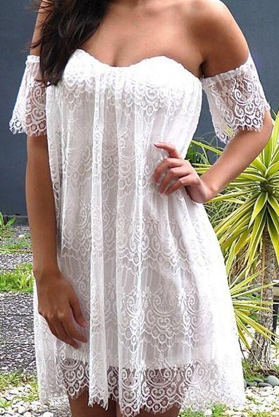 Want the white lace boho offshoulder dress - SeenIt