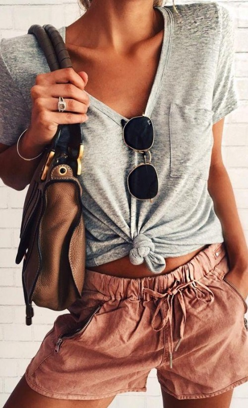 looking for this grey crop top and similar shorts. - SeenIt