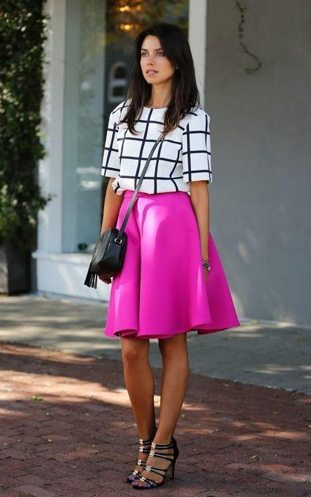 Looking for a similar fuchsia skirt with a black and white top and strappy heels - SeenIt
