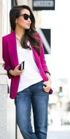 Looking for a similar fuchsia blazer, white tee, blue jeans, and black shades - SeenIt