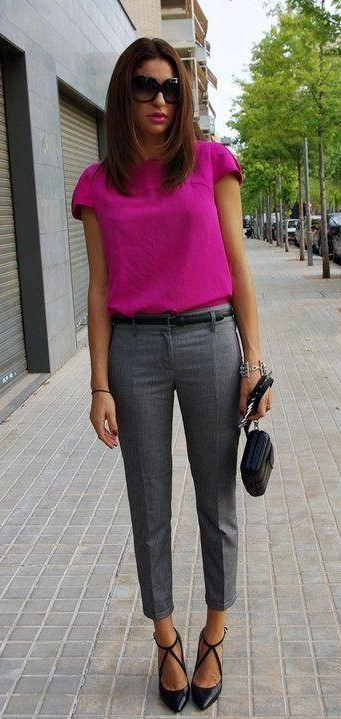 Looking for a similar fuchsia top with grey pants, black shades - SeenIt