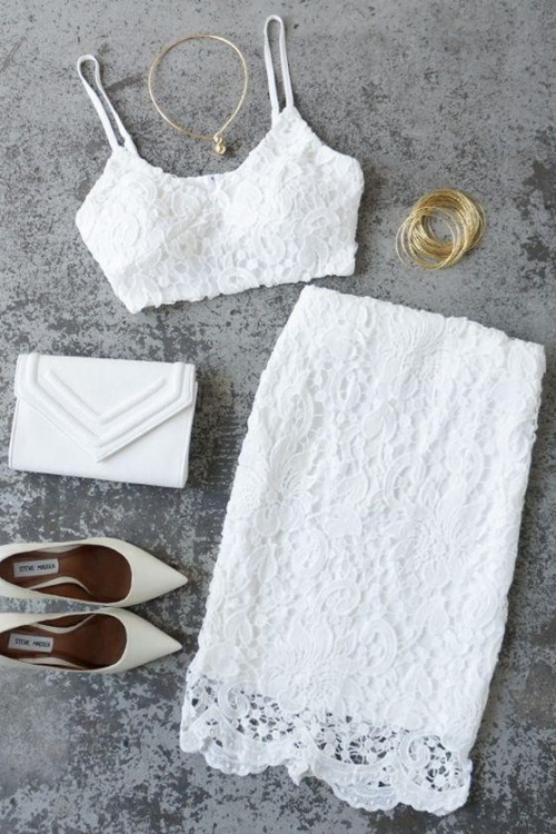 Help me find a similar white lace coords...crop top and pencil skirt. - SeenIt