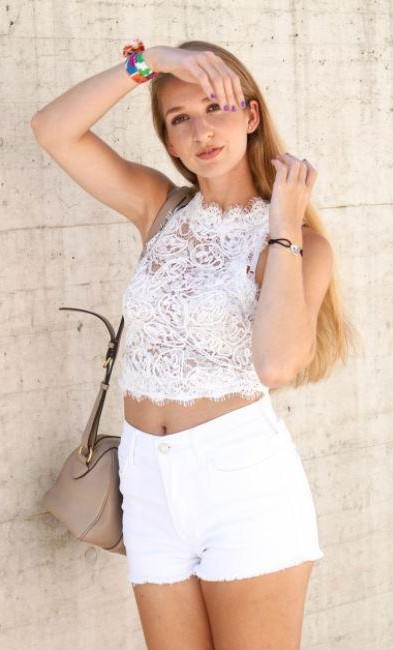 Can you find me a similar white lace crop top and white denim shorts? - SeenIt
