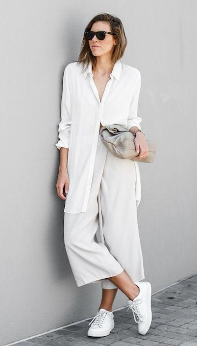 Help me find a similar white long shirt and flared pants along with the white sneakers. - SeenIt