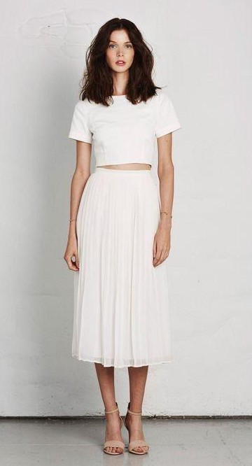 Simple white crop top and midi skirt...Please find me these!! - SeenIt