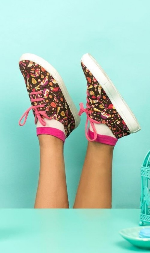 Find me these multicolor quirky printed canvas shoes. - SeenIt