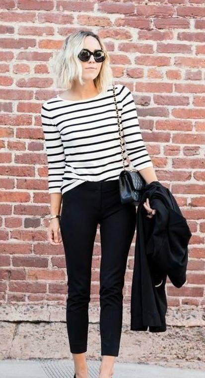 Looking for similar black and white striped top, black pants and black clutch bag - SeenIt