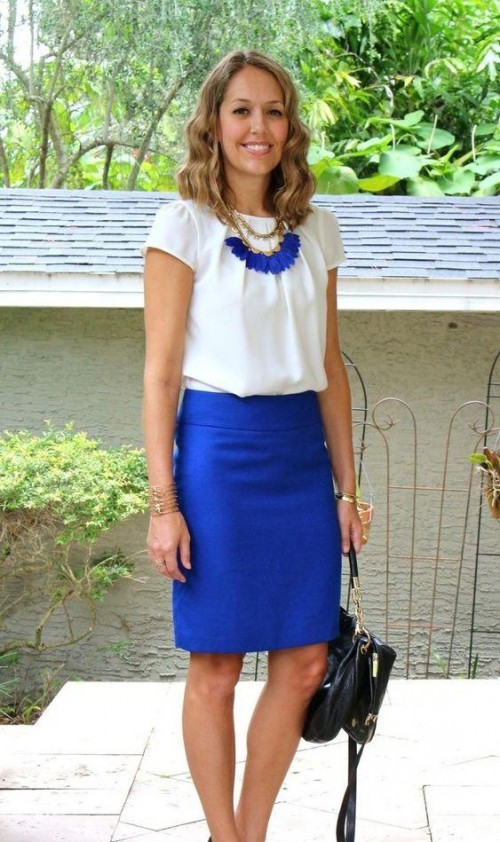 ee7346020 Looking for similar blue pencil midi skirt, white top and this electric blue  neckpiece -