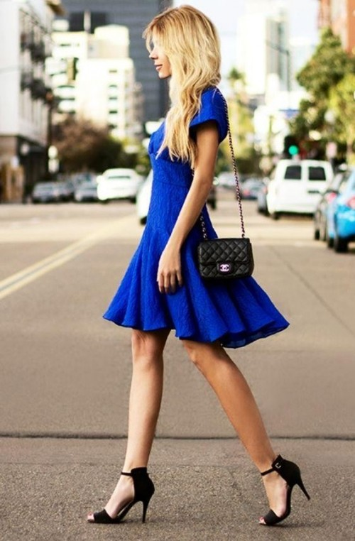 Looking for an electric blue midi fit and flare dress with black heels and a black clutch bag - SeenIt