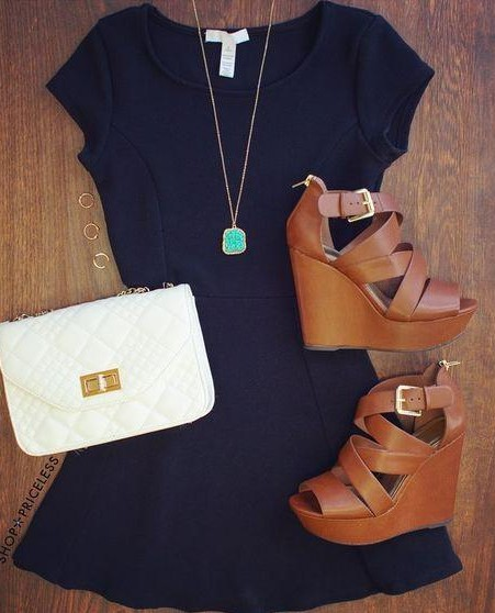 Looking for a similar navy dress with strappy brown heels, a white bag and a blue necklace for a date night - SeenIt