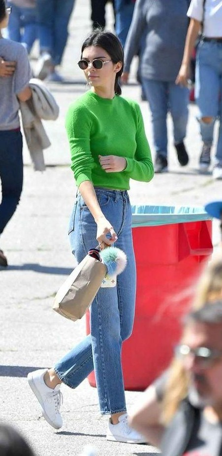 I am looking for similar green top and light blue jeans as seen on kendall jenner. - SeenIt
