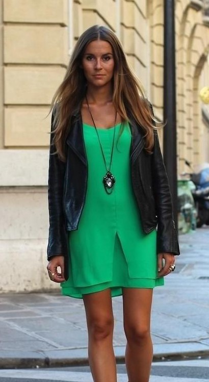 i want a similar black jacket and green shift dress a s seen on her. - SeenIt