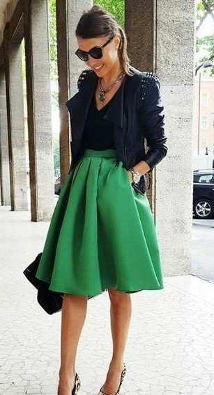 i am looking for a similar black tank top, jacket and green skirt as seen on her. - SeenIt