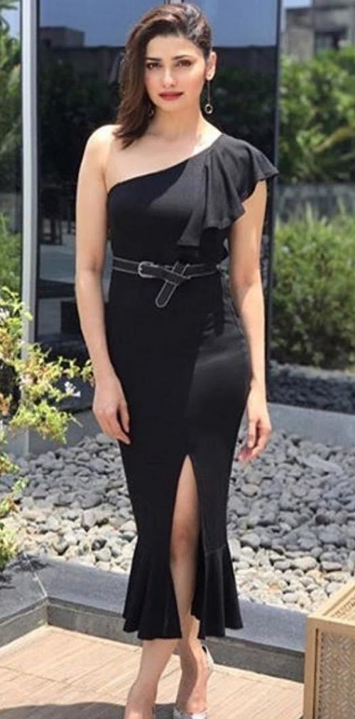 I want this black one shoulder ruffled slit midi dress that Prachi Desai is wearing. - SeenIt