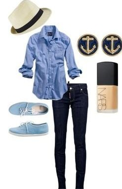 Want The blue shirt, black jeans, fedora, blue shoes, anchor studs and NARS nail polish - SeenIt