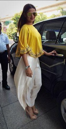I am looking for a similar cape top and dhoti pants - SeenIt