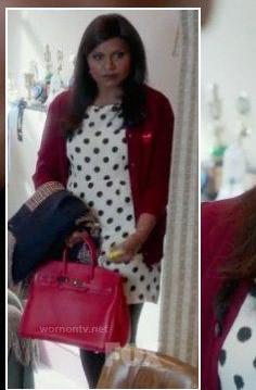 want a similar polka dot dress and maroon cardigan that mindy is wearing - SeenIt